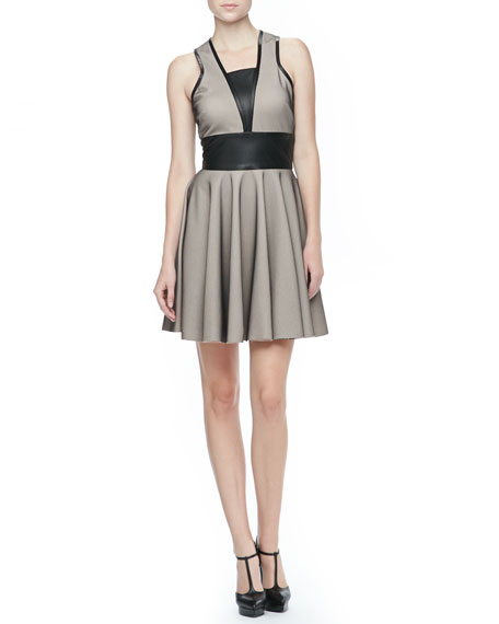 Leather-Trim Sleeveless Dress