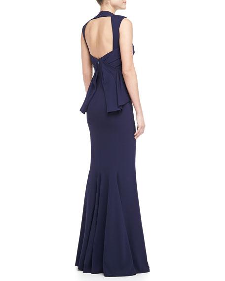 Sweetheart Back Peplum Gown
