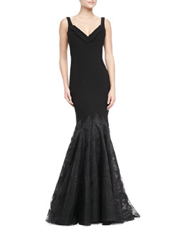 ZAC Zac Posen Sweetheart Neck Lace Bottom Gown