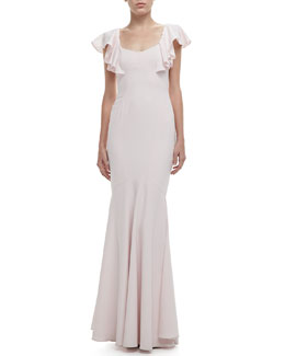 ZAC Zac Posen Flutter-Sleeve Open-Back Gown