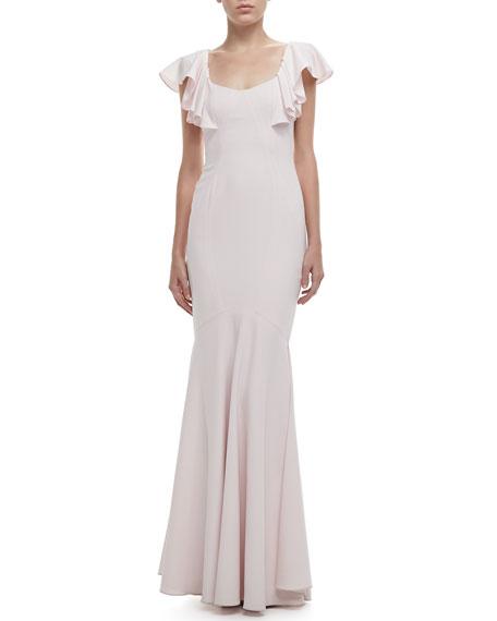 Flutter-Sleeve Open-Back Gown
