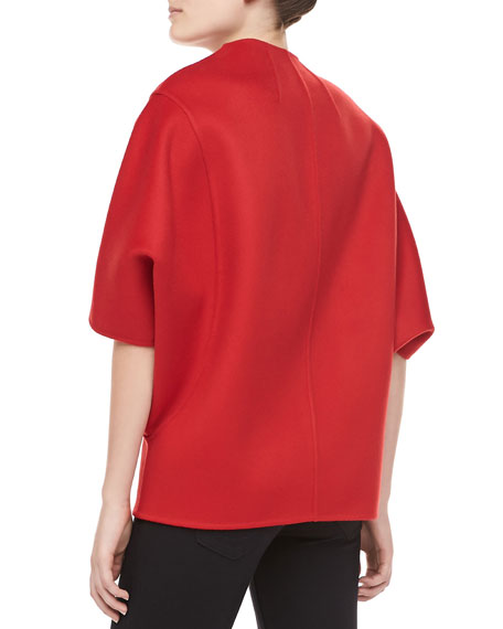 Double-Faced Melton Wool Jacket, Crimson