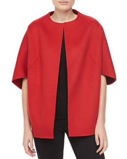 Michael Kors Double-Faced Melton Wool Jacket, Crimson