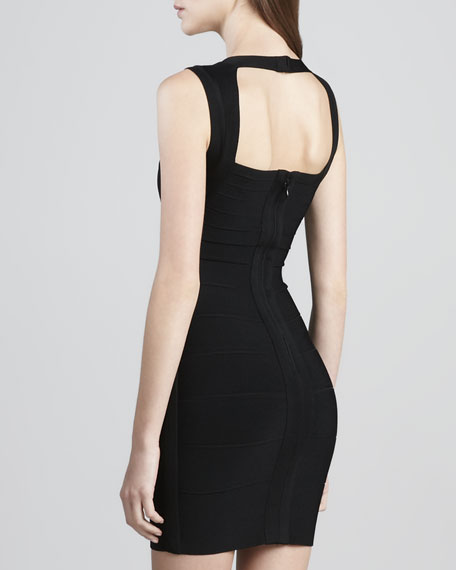 Crisscross Open-Back Bandage Dress, Black