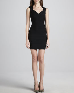 Herve Leger Crisscross Open-Back Bandage Dress, Black