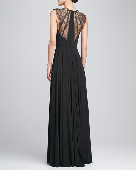 Sleeveless Lace-Back Gown