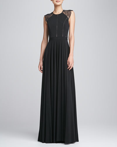 Catherine Deane Sleeveless Lace-Back Gown