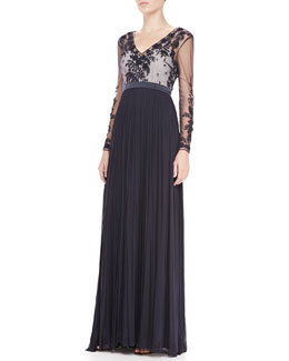 Catherine Deane Summer Long-Sleeve Embroidered Gown