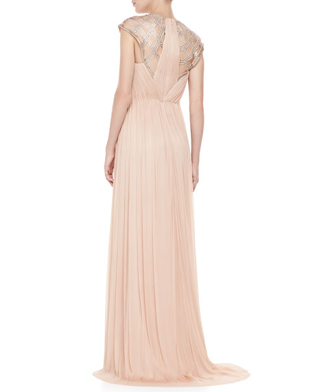 Sorenta Beaded-Top Cap-Sleeve Gown