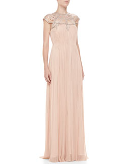Catherine Deane Sorenta Beaded-Top Cap-Sleeve Gown