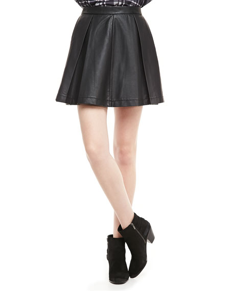 Athena Faux-Leather Circle Skirt