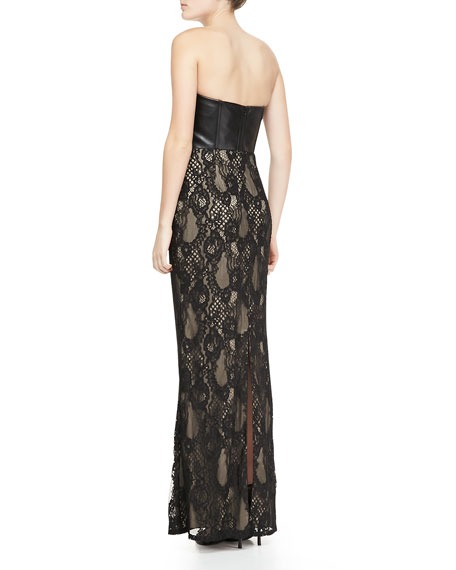 Strapless Faux-Leather & Lace Gown