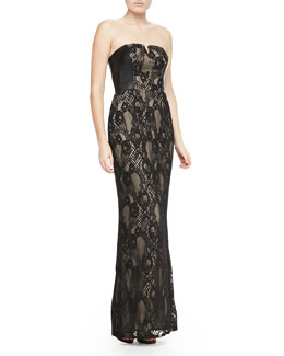Aidan Mattox Strapless Faux-Leather & Lace Gown