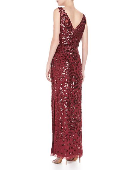 Sleeveless Blouson Beaded Gown, Merlot