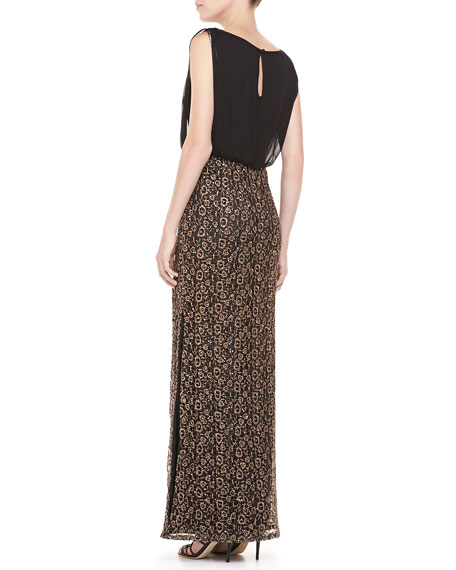 Sleeveless Sequin Blouson Gown