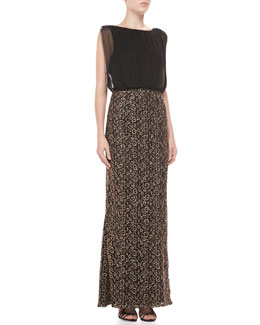 Aidan Mattox Sleeveless Sequin Blouson Gown