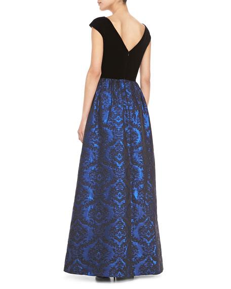 Short Sleeve Combo Jacquard-Skirt Ball Gown, Black/Cobalt
