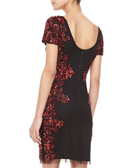 Short-Sleeve Sequin Pattern Side Cocktail Dress, Black & Red