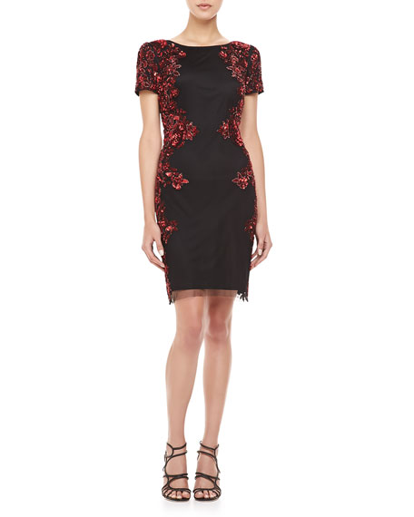 Short-Sleeve Sequin Pattern Side Cocktail Dress, Black & Red