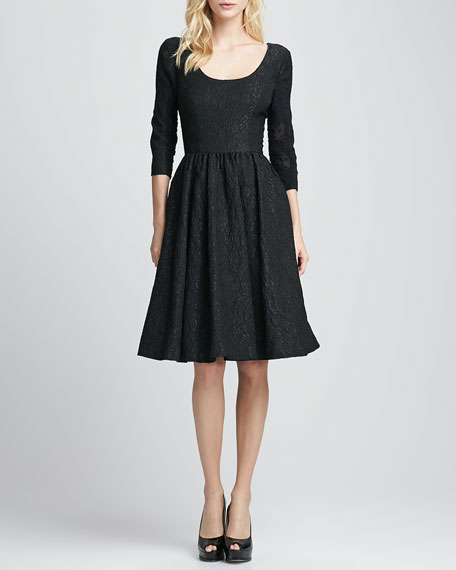 3/4-Sleeve Brocade Party Dress