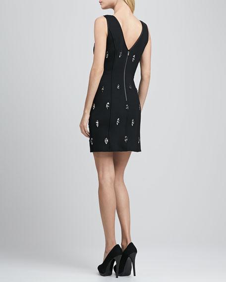 V-neck Dress with Diamond-Shape Studs