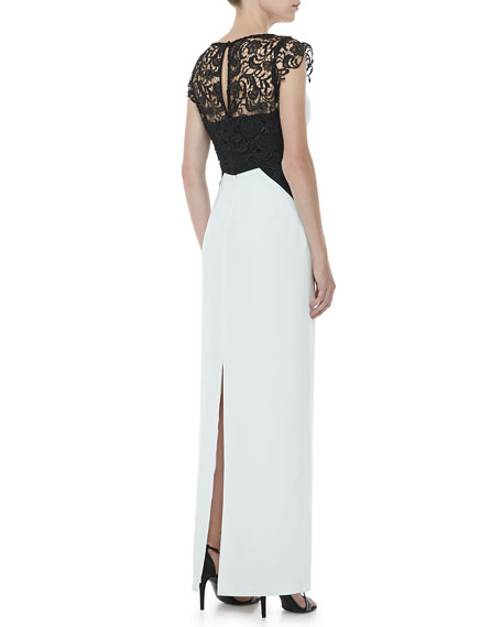 Lace-Inset Cap-Sleeve Colorblock Gown