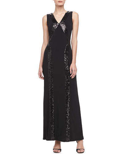 Laundry by Shelli Segal Sleeveless V-Neck Sequined-Striped Gown