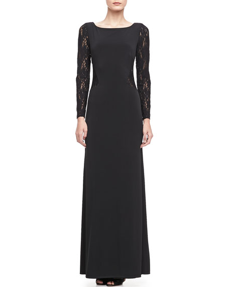 Long-Sleeve Lace Boat Neck Gown