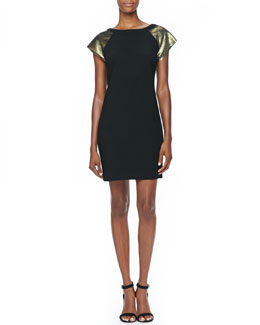 Trina Turk Comrie Metallic-Sleeve Dress