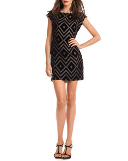 Trina Turk Blancart Diamond-Print Dress