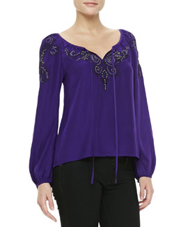 Nanette Lepore Embroidered Tie-Front Silk Top
