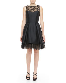 Theia Sleeveless Lace-Hem Party Dress