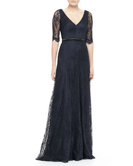 Theia Lace Elbow-Sleeve Gown