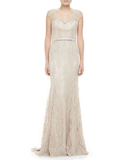 Theia by Don O'Neill Lace Beaded Gown