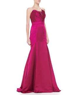 Theia by Don O'Neill Strapless Origami-Bodice Mermaid Gown