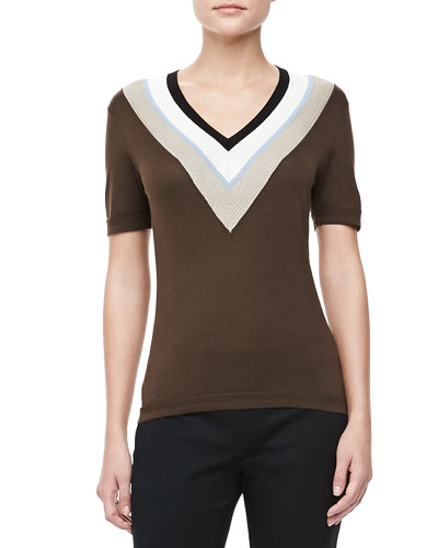 Carolina Herrera V-Neck Striped-Trim Top, Sepia