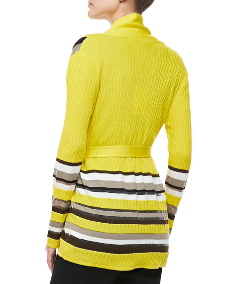 Belted Striped Cardigan, Canary
