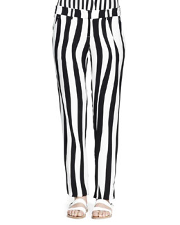 A.L.C. Andrew Optic-Stripe Silk Pants