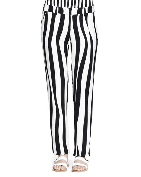 Andrew Optic-Stripe Silk Pants