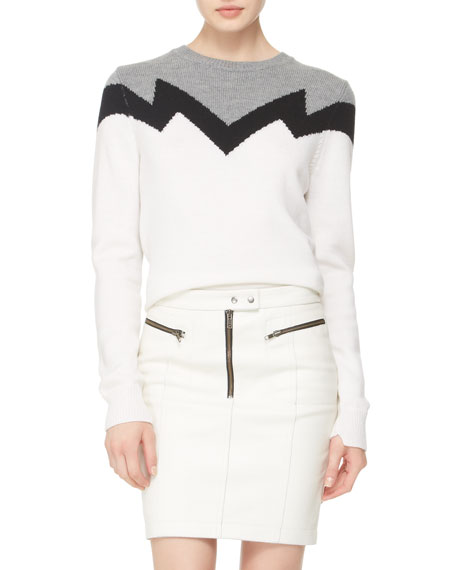 Maya Zip Leather Skirt