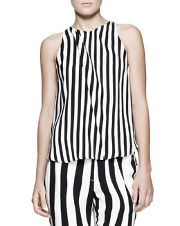 A.L.C. Laselz Optic-Stripe Silk Top