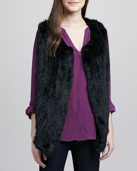 Andoni Rabbit-Fur Vest, Caviar