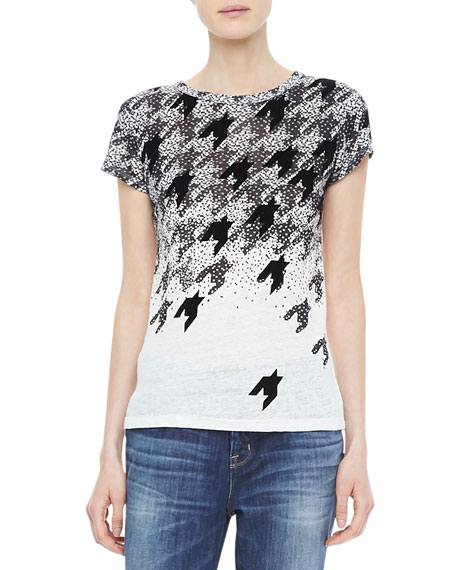 Flocked Houndstooth Tee