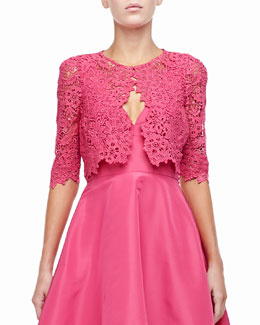 Monique Lhuillier 3/4-Sleeve Lace Bolero