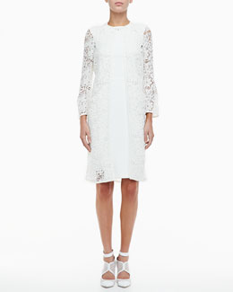 Monique Lhuillier 3/4-Sleeve Lace Overcoat