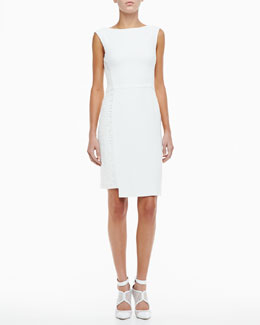 Monique Lhuillier Crepe Cocktail Dress with Lace Side