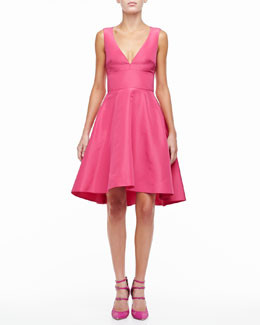 Monique Lhuillier Silk Faille A-Line Party Dress