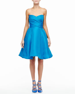 Monique Lhuillier Strapless Sweetheart Cocktail Dress with Bow