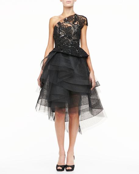 Monique Lhuillier Beaded Lace One-Should Cocktail Dress