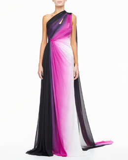 Monique Lhuillier Silk One-Shoulder Gown, Ombre